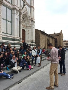 Day 3: Spencer Harris and Quinn Peebles giving their presentation on the tomb of Galileo Galilei at the Basilica di Santa Croce, Florence