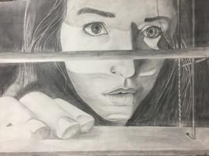 Self-portrait, graphite drawing on paper, Georgianna Wells, grade 12