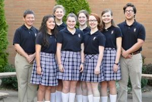 Westminster students who were selected to the All-West Honor Choir. L-R: Houston Newsome, Anna Funes, Elizabeth Ann Hickman, Sally Walker, Christley Vaughn, Hanna Newsome, Lizzy Jorgensen, and Max Gustafson