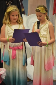 3rd Graders Keeny Cashman and Layla Nagem present their speech on the goddess Athena.