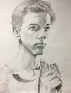 Self-portrait, graphite drawing on paper, Lincoln Atnip, grade 12