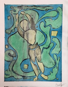 'A Tribute To Matisse', gouache and ink wash-off on board, Christley Vaughn, grade 8