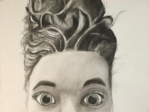'Sophie', charcoal drawing on paper, Sophie Tusant, grade 10