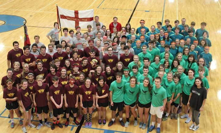 Westminster upper school students gather for house picture on field day