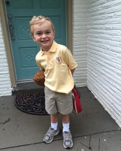 Jack O'Dell on his first day of Junior Kindergarten