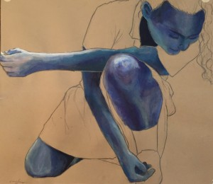 'Girl In Blue', graphite and acrylic paint on paper, Lucy Jones, grade 10